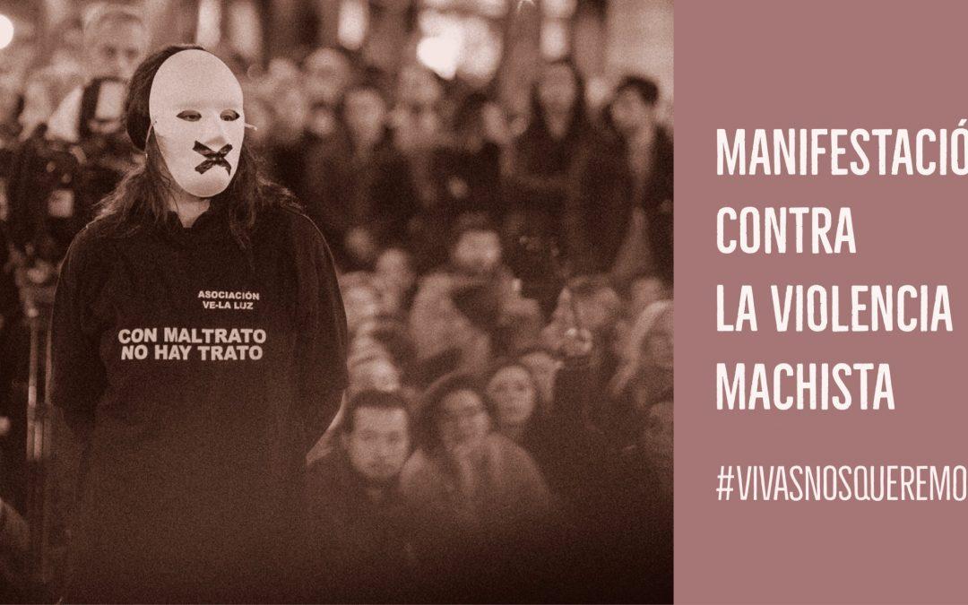 Manifestación en la Puerta del Sol contra la violencia Machista en apoyo a la asociación «Ve-la luz»